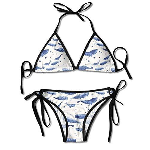 Sistemas para Mujer Impresos natación del Bikini de la pequeña Ballena Azul, bañador de la Playa del Traje de baño del triángulo