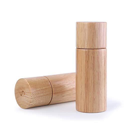 Holz Salz und Pfeffermühle Set,Gummibaumholz Einstellbare Grobmühlen Keramikrotor - BPA-frei zum Kochen von Küchenwerkzeugen (Pfeffermühle + Salzmühle)