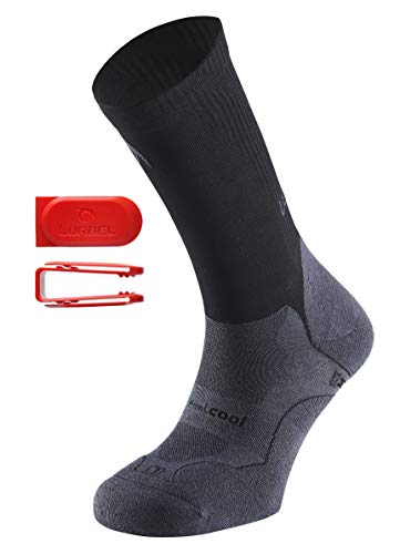 Lurbel Gravity Kurze Sport Kompressionsstrümpfe/Laufsocken/Kompressionssocken, antibakteriell, ergonomische Polsterung, Herren & Damen (Grau-Schwarz, 39-42)