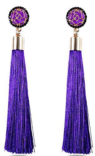 MODA ACCESSORIES Purple Fabric Elegant Rose Flower Long Tass