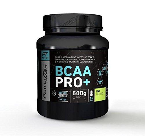 POWERTEC SUPPLEMENTS BCAA Pro+ Drink - Pulver mit essentiellen Aminosäuren für den effizienten Muskelaufbau - mit Glutamin und Arginin (Kiwi)