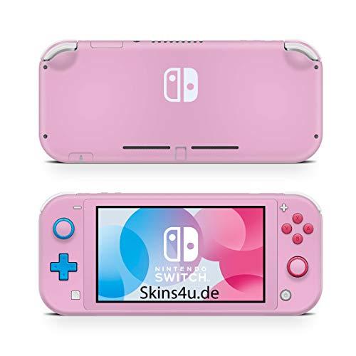 Skins4u Aufkleber Skins für Nintendo Switch Lite Vorder & Rückseite Decal Cover Sticker Schutzfolie Design Solid State Pink