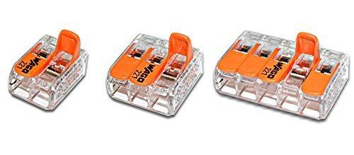 WAGO 221 Serie Set Sortiment 100x 221-412 | 50x 221-413 | 25x 221-415 Verbindungsklemme mit Betätigungshebel neue flache Bauform