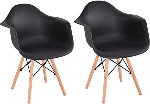 JIASEN Juego de 2 sillones con patas de madera natural y construcción estable de metal, sillas de diseño moderno para comedor, sala de estar, dormitorio (negro) J