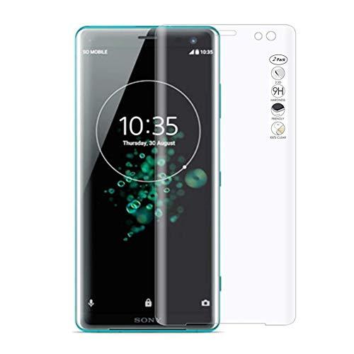 """HERCN Sony Xperia XZ3 5.7"""" 3D Vetro Temperato,Ultra Resistente 3D Curvo 9H Durezza Pellicola Protettiva in Vetro Temperato per Sony Xperia XZ3 Smartphone (Trasparente & 2 Pack)"""