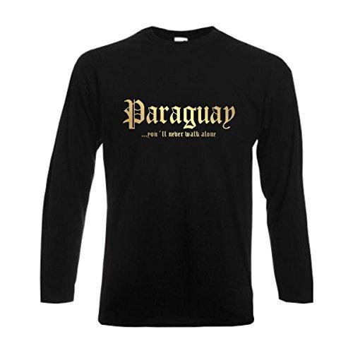 Longsleeve Paraguay Never Walk Alone Herren Langarm T-Shirt Länder Fanshirt schwarz auch große Größen Übergrößen (WMS01-46b) XL