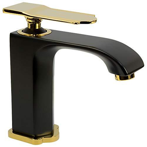 Sanlingo Badarmatur Einhebelmischer Mischbatterie Waschtischarmatur Schwarz Gold