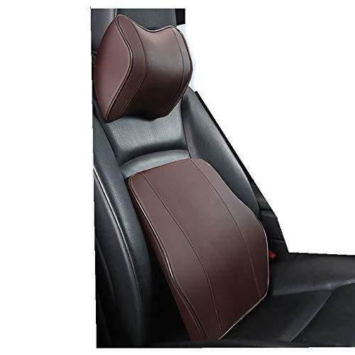 Cuscino per poggiatesta e supporto lombare, in memory foam, design erognomico, universale, per alleviare dolori muscolari e tensioni per seggiolino auto (marrone)