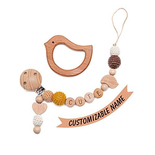 Mamimami Home Chupetero Personalizado Cadena Chupete Amarilla Juguete Para la Dentición Personalizada para Niñas y Niños Pajarito de Madera Cadena de Chupete (Pajarito Lindo)