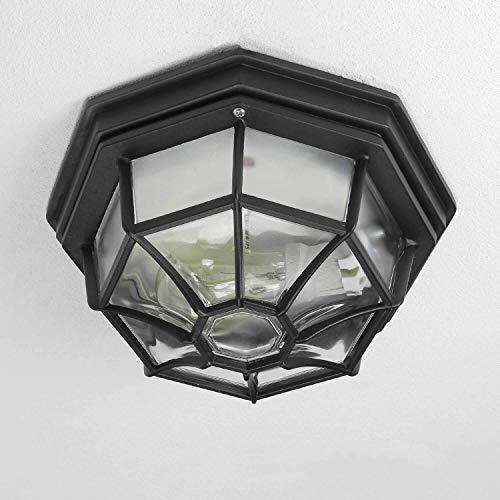 *Rustikale Außen Deckenleuchte flache Außenlampe in schwarz E27 bis 100W IP54 für Garten Hof Deckenlampe Beleuchtung*