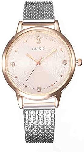JZDH Mano Reloj Reloj de Pulsera Mujer de Aluminio Reloj de Acero Inoxidable de Acero analógico de Cuarzo Reloj de Lujo Reloj de Lujo relogiono Relojes Decorativos Casuales (Color : Silver)