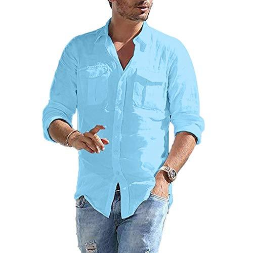 DNOQN Sportshirt Herren T Shirt Topshop Poloshirt Herren Baggy Baumwolle Leinen Tasche Solide Langarm Retro T Shirts Tops Bluse XXXL