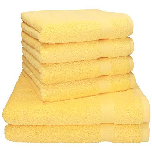 Juego de toallas amarillas 100% algodón, 2 Toallas de baño 4 Toallas de Lavabo
