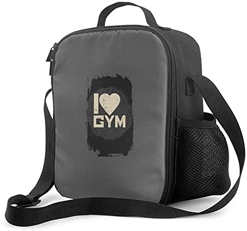Hirola Grunge and Retro,I Love Gym Bolsa de almuerzo aislada a prueba de fugas para el trabajo y la oficina