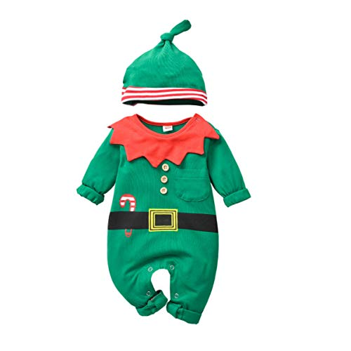Baby-Christmas-Elf-Outfit-Onesies Jumsuit for Toddler Boys Girls Christmas Costume Pajamas Clothes (green, 0-6months)
