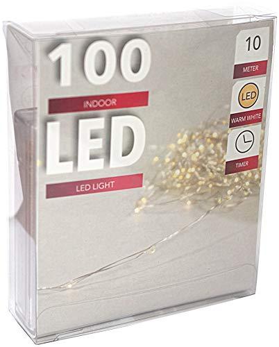 htl Led Draht Lichterkette Batterie mit Timer 100 Lämpchen Micro Tropfen auf biegsamen Silberdraht