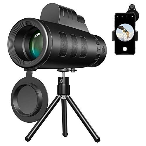 Telescopios monoculares, 40X60 HD Telescopio Lente de teléfono celular Binoculares Impermeable con soporte para teléfono Trípode para escalada Observación de aves Concierto Fútbol Juego Viaje