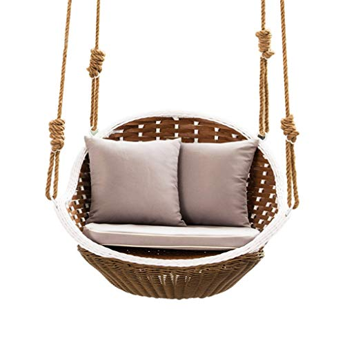 Wamnyng Balcony Hanging Chair Single Rattan Chair Hanging Basket Double Hanging Basket Adult Swing Cradle Chair Indoor Home (Size : 90cm)