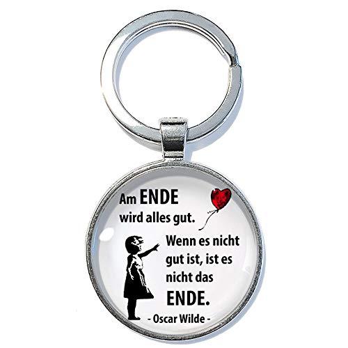 Am Ende wird alles gut ABOUKI Geschenk-Idee Geburtstag Weihnachten Freund Freundin Familie Kollege Kollegin Glücksbringer Taschenanhänger handgefertigt Schlüsselanhänger 30mm