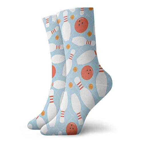 Hangdachang Herren- und Damenstrümpfe - Bowlingkugel & Orange Dot Glitter Bunte lustige Neuheit Crew Socken 30 cm