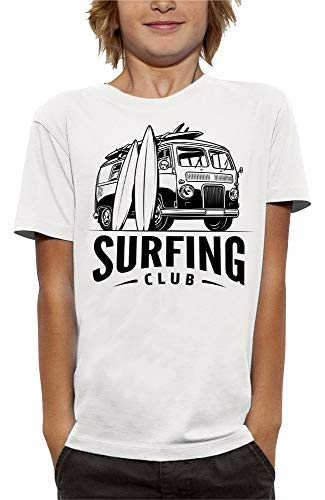 PIXEL EVOLUTION Camiseta Surfing Club Niño - tamaño 12/14 años - Blanco