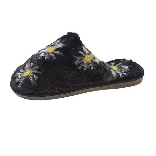 ypyrhh Zapatillas de Invierno Mujer Hombre Pantuflas,Pantuflas peludas Baotou,Pantuflas cálidas de algodón para el hogar de Fondo Plano-Negro_40,de casa Suaves y cómodas Zapatillas