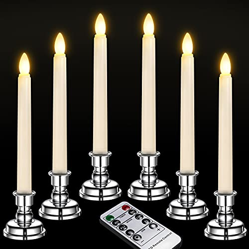 Ymenow Window Candles, 6pcs Battery Operated LED Flickering Flameless Taper Candle Light with Remote Timer & Silver Candlesticks, Battery Included for Home Room Dinner Wedding Festival Party Decor