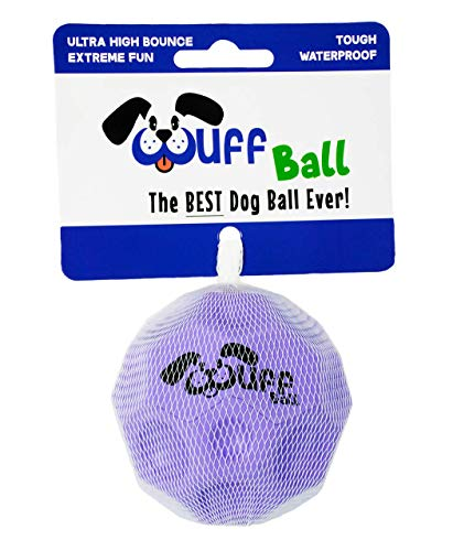 WUFF BALL - The Best Dog Ball Ever! Fun Durable Ultra Bouncy Purple Fetch Dog Toy, Fits Ball Launcher
