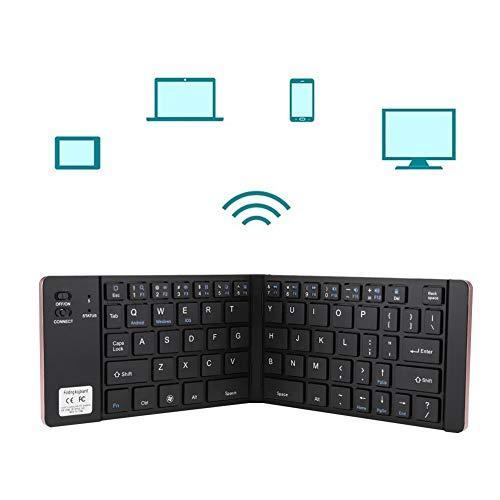 ASHATA Opvouwbaar bluetooth-toetsenbord, opvouwbare mini draagbare tas, draadloos bluetooth-toetsenbord, universeel voor telefoon, tablet, pc, ondersteuning voor Microsoft Windows/Android/iOS, ros�goud.