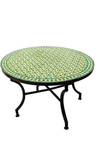 ORIGINAL Marokkanischer Mosaiktisch Couchtisch ø 100cm Groß rund | Runder Kleiner Mosaik Gartentisch Mediterran | ALS Tisch Beistelltisch für Balkon oder Garten | Albaicin Grün Gelb 100cm