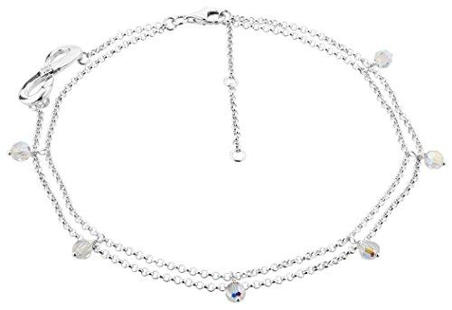 Nenalina Fußkettchen Silber Fashion zweireihig mit Infinity Symbol und Swarovski Kristalle, Damen Knöchel Armband verstellbar für Damen und Mädchen, Länge 23-27 cm, 925 Sterling Silber, 281002-051