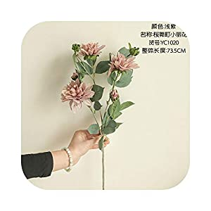 Dreamture INS Japanese Dahlia Branch with Fake Leaves Silk Artificial Flowers House Decor Photography Living Room Decoration Flores