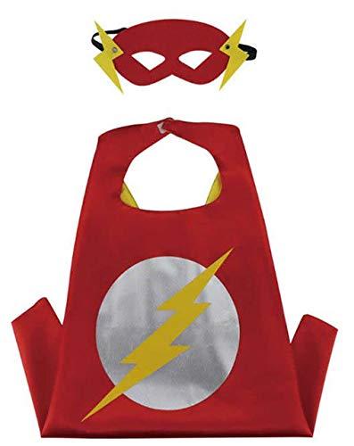 HOUSE CLOUD Costumi da Supereroi per Bambini - Regali di Compleanno - Costumi di Carnevale - 1 Mantello E Maschere - Logo – Giocattoli per Bambini E Bambine Captain America Flash e Ironman (Flash)