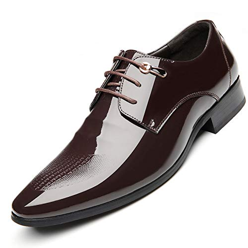 Junjiagao Geschnitzte handgemachte Schuhe Formale Herrenschuhe, Zweischicht Lederanzug, Herren Lederschuhe. (Farbe : Braun, Size : 40)