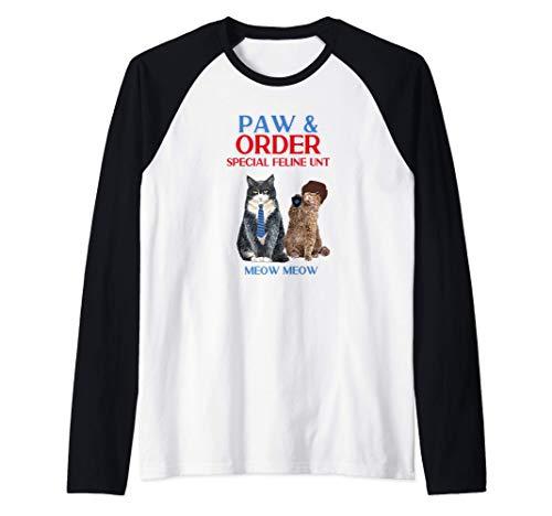 Paw & Order Unidad felina especial Miau Miau Gracioso gato Camiseta Manga Raglan