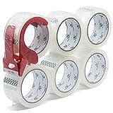 BOMEI PACK 6 Rollos Cinta Embalar Adhesiva Transparente 48MMx 66M para Cajas y Paquetes Ideal para Envíos y Mudanzas
