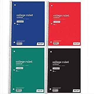 Office Depot College Ruled Spiral Notebooks Set of 4 Assorted