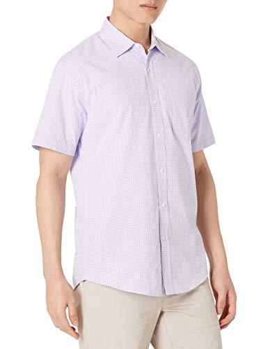 Amazon Essentials Men's Regular-Fit Short-Sleeve Casual Poplin Shirt, lavender gingham, Large