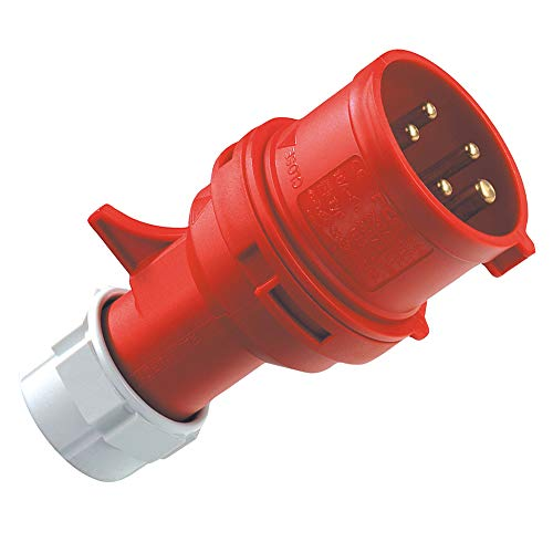 REV CEE GERÄTESTECKER 5-polig 16A 400V~ – Made in Europe ǀ CEE Stecker für Industrie Handwerk Landwirtschaft ǀ spritzwassergeschützt IP44 ǀ Farbe: rot