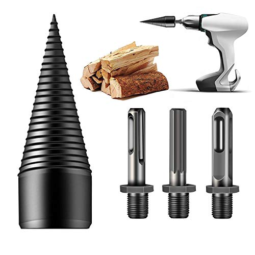 Beita 4PCS Firewood Drill Bit, Removable Firewood Log Splitter Drill Bit Cone Driver ,Wood Splitter Drill Bits,for Hand Drill Hex+Square+Round (32mm)