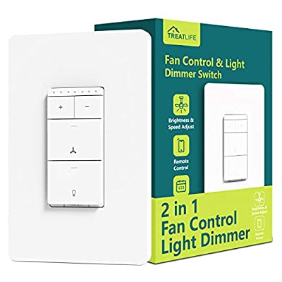Smart Ceiling Fan Control and Dimmer Light Switch, Neutral Wire Needed, Treatlife Single Pole Wi-Fi Light Switch Fan Speed Control, Works with Alexa/Google Assistant, Schedule, Remote Control (1PACK)