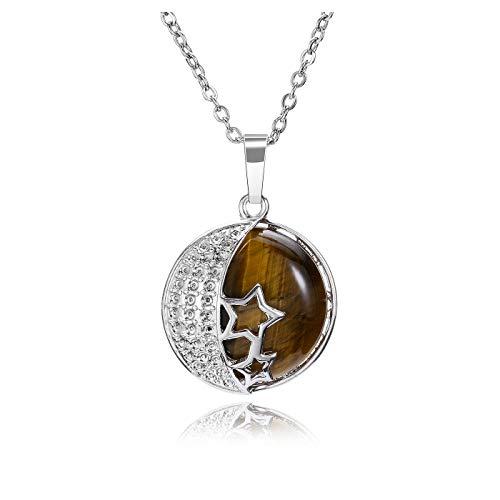 JSDDE Collar de cristal natural ojo de tigre con colgante de plata y estrella de luna
