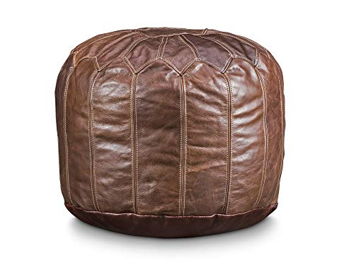 """Stone & Leigh Moroccan Genuine Leather Pouf Ottoman Footstool 14"""" Tall 20"""" Wide Large Round Stuffed Living Room Decor Bohemian"""