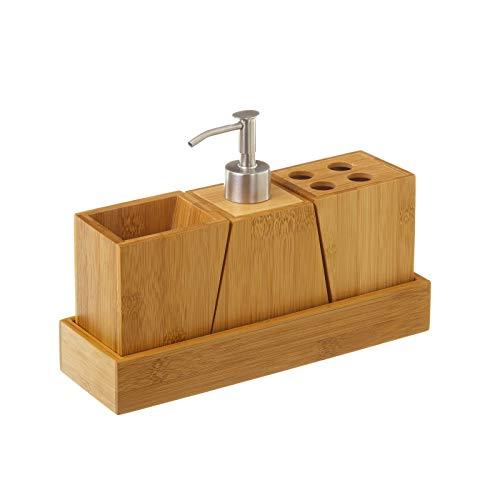 Accesorios de baño nórdicos Marrones de bambú para Cuarto de baño Sol Naciente - LOLAhome