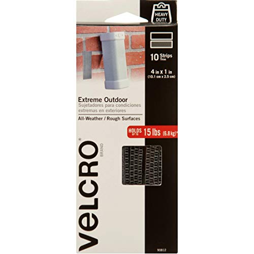 VELCRO Brand Outdoor Heavy Duty Strips | 4 x 1 Inch Pk of 10 | Holds 15 lbs | Titanium Extreme Hook and Loop Tape Industrial Strength Adhesive | Weather Resistance for Rough Surfaces (90812)