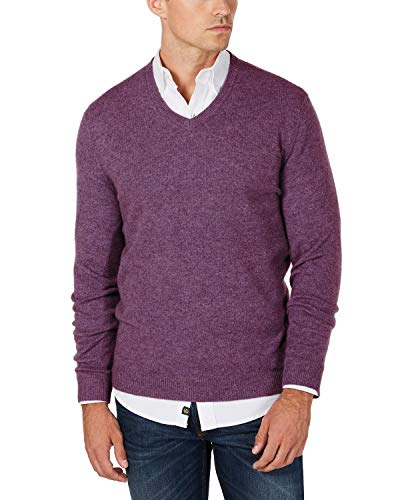Club Room Mens Cashmere Heathered V-Neck Sweater Purple XXL