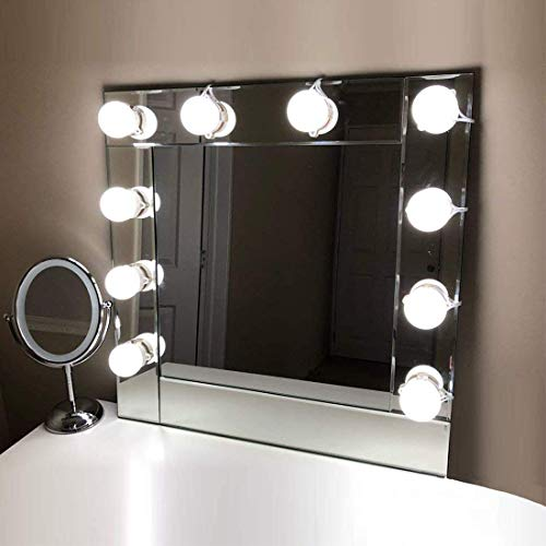 Led-spiegellamp, 10 leds, make-up voor spiegels, make-up Hollywood licht, toilettafel, verlichting met 7000 K, spiegellamp, 5 dimbare helderheid, spiegel niet verkrijgbaar