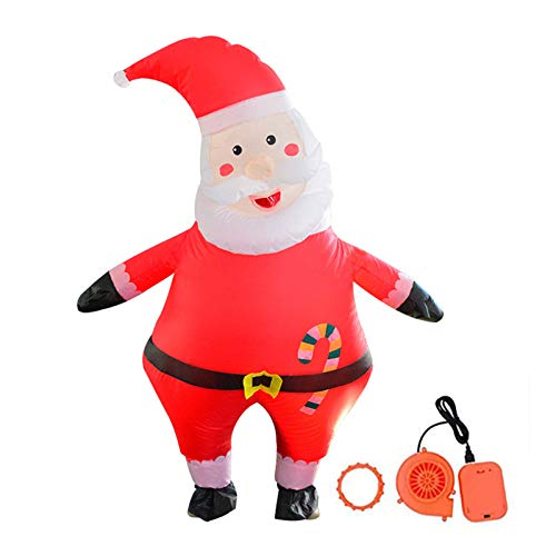 WE-WHLL Inflatable Tilted Head Santa Claus Costume for Adult/Teen Unisex Merry Christmas Blow Up Cosplay Festive Party Suit(Fits for the person from 5ft to 6ft(150cm - 190cm)