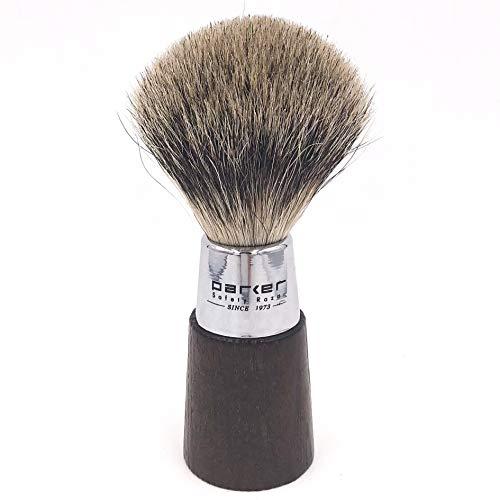 Parker Safety Razor Fait à la main Blaireau - 100% Trois bande de blaireau pur Shave brosse à manche avec & Chrome - Brosse Support fourni Noyer