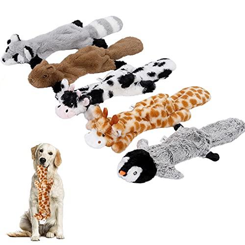 Iokheira Hundespielzeug Quietschend,Füllungsfreie Spielzeug für Hund,Plüschtier Kauen Spielzeug für Kleine und Mittelgroße Hunde, Kuscheltier Hundespielzeug,5 Stück